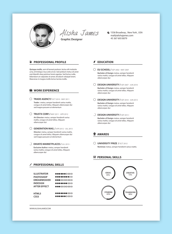 Tips For Making Your Thin Resume Presentable | Resume With Black And White Photo Resume Design Ideas Pinterest