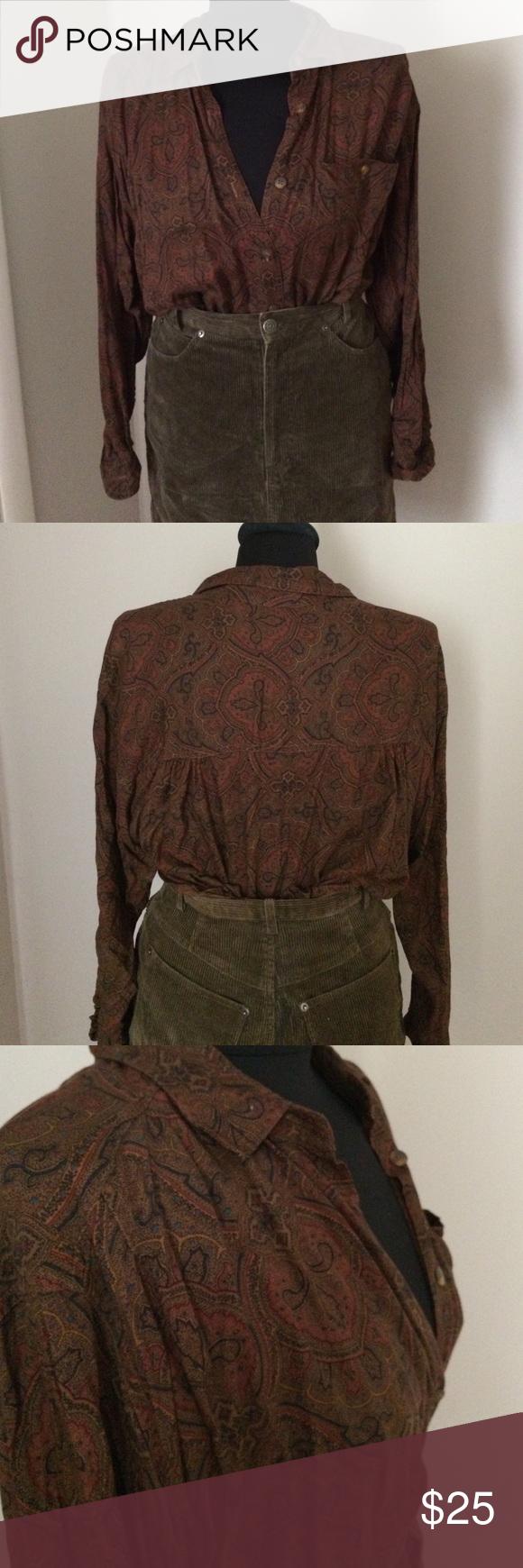 Paisley Liz Sport Blouse Paisley print button-down blouse. 100% Rayon. *Skirt sold separately* Liz Sport Tops Button Down Shirts