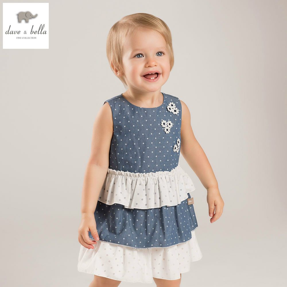 a5951acf9d494 DB5880 dave bella summer baby girls princess dress child dot printed ...
