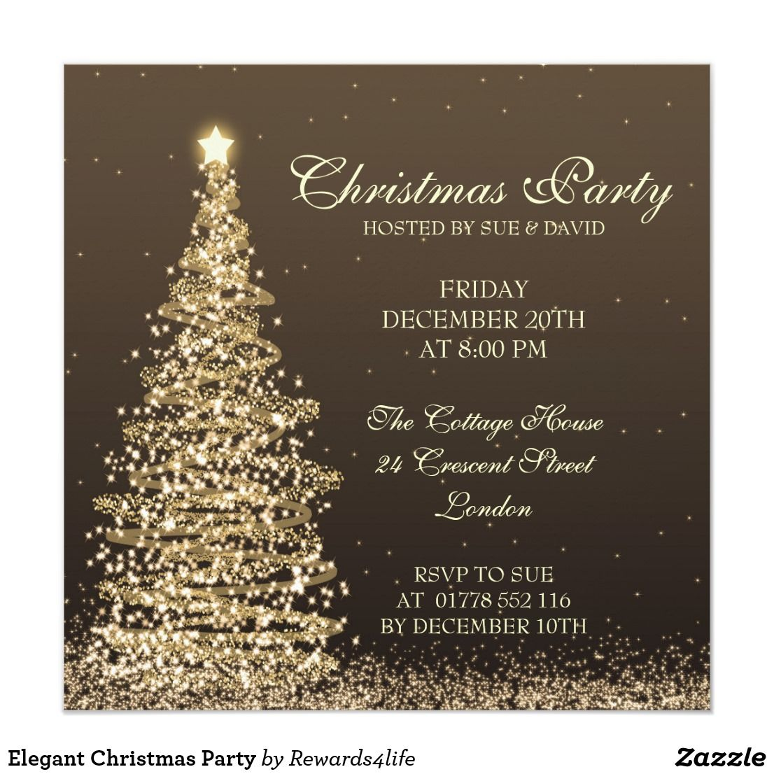 Elegant Christmas Party Card Elegant ChristmasWeddingDinner Party - Party invitation template: elegant christmas party invitation template