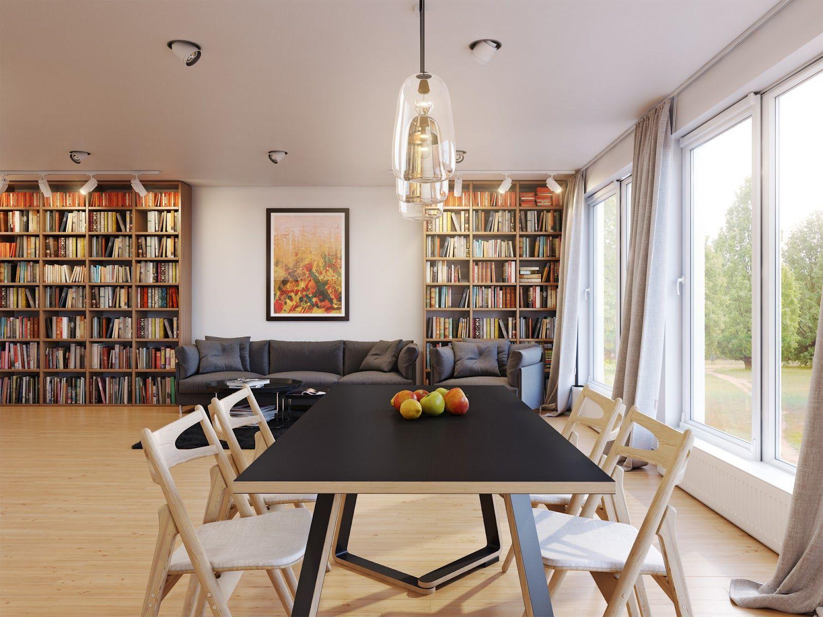 Wood Dining Room Furniture And Bookshelf Storage In Modern Kitchen Open Plan On Living Design Ideas
