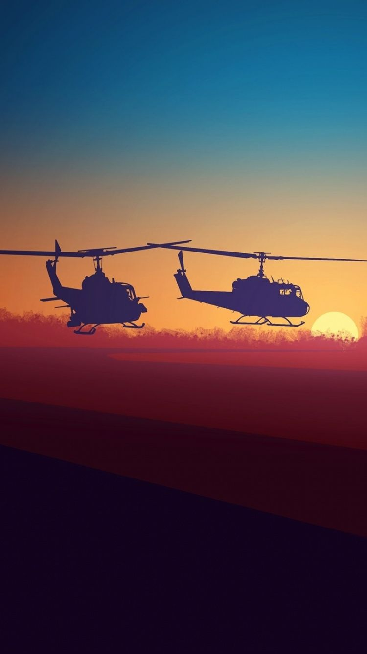 Military Helicopters Minimalsm Clouds Sky Sunset 750x1334