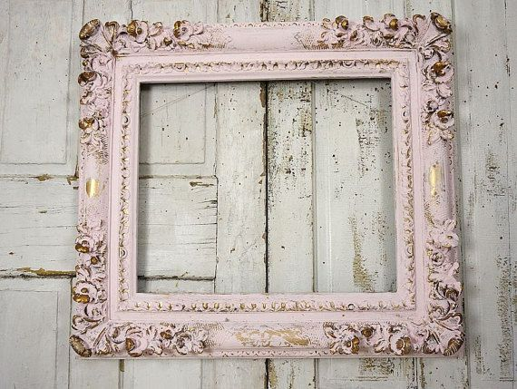Large thick picture frame shabby cottage chic pink gold wall hanging ...