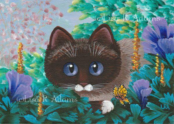 Ragdoll Siamese Burmese Cat Painting Original 5x7 Canvas