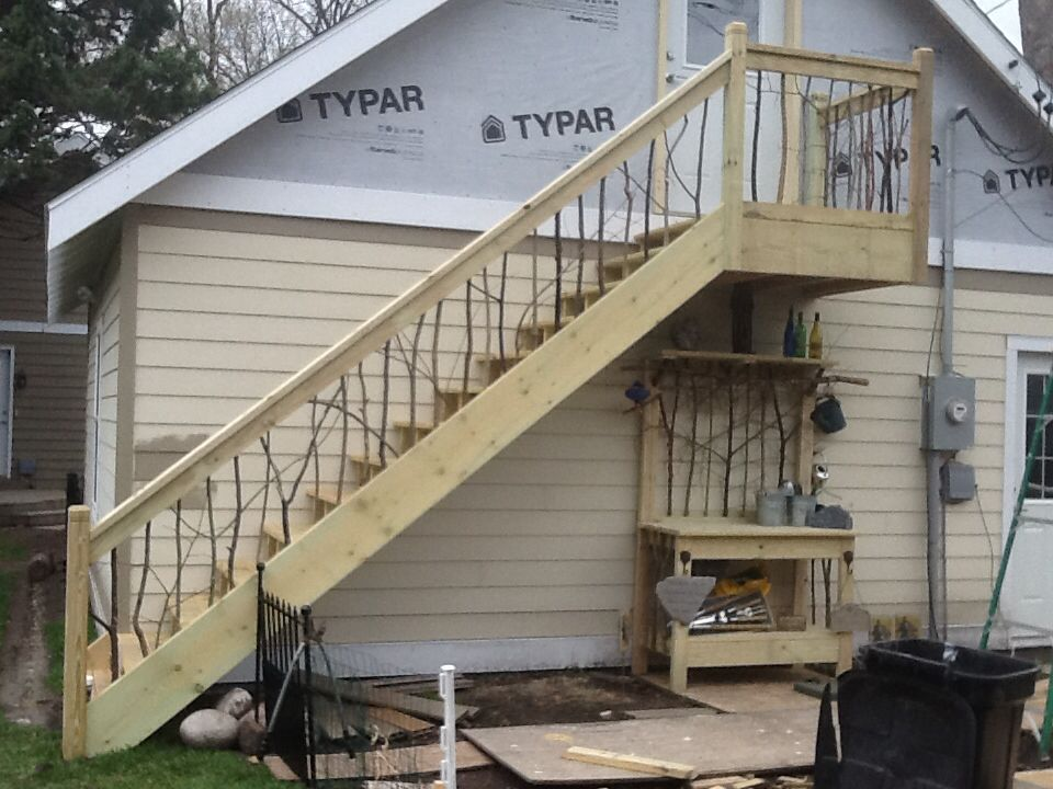 Stair railing to my garage attic with matching potting