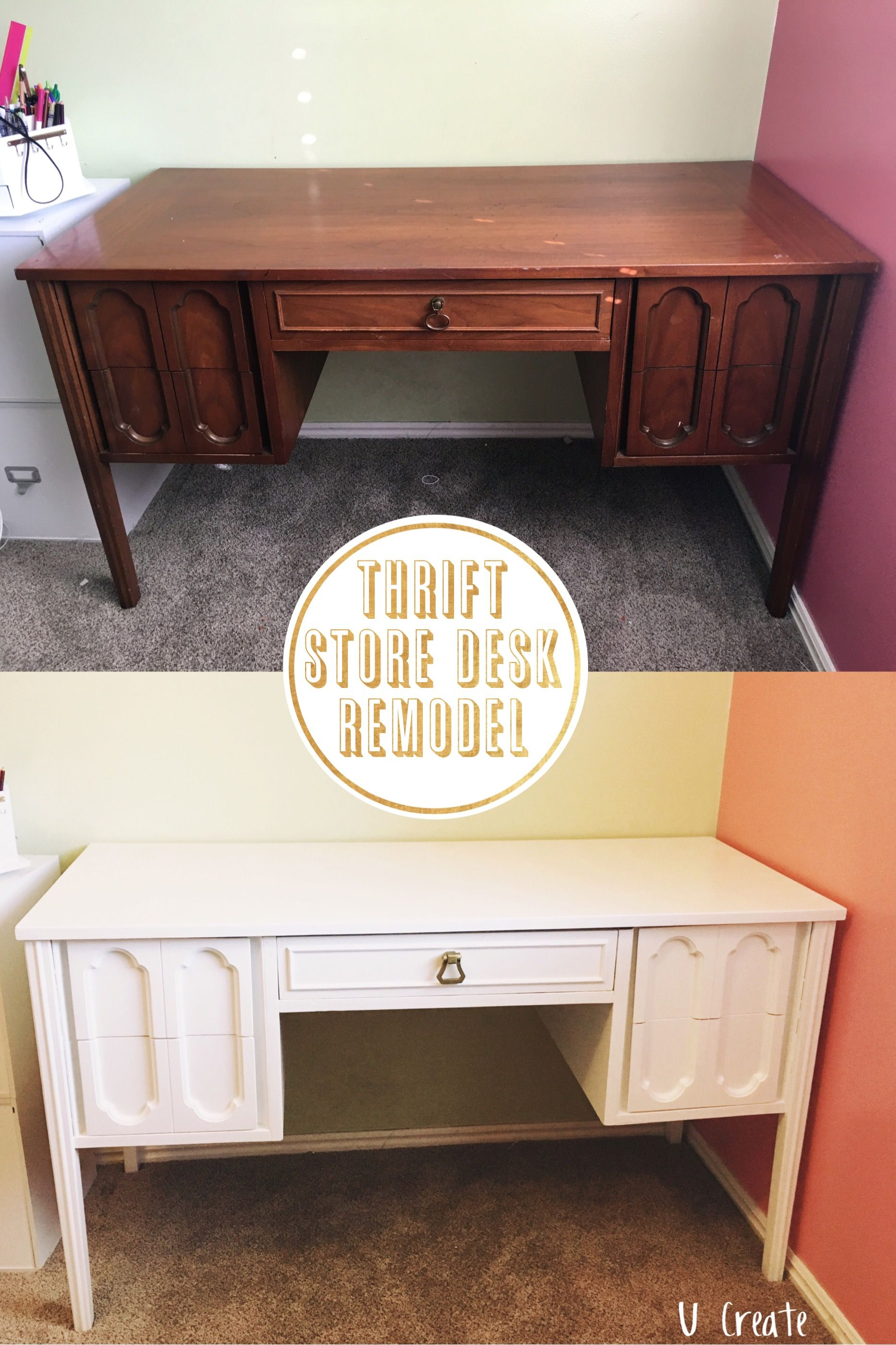 Thrift store desk remodel no sanding no priming with enamel paint diy furniture