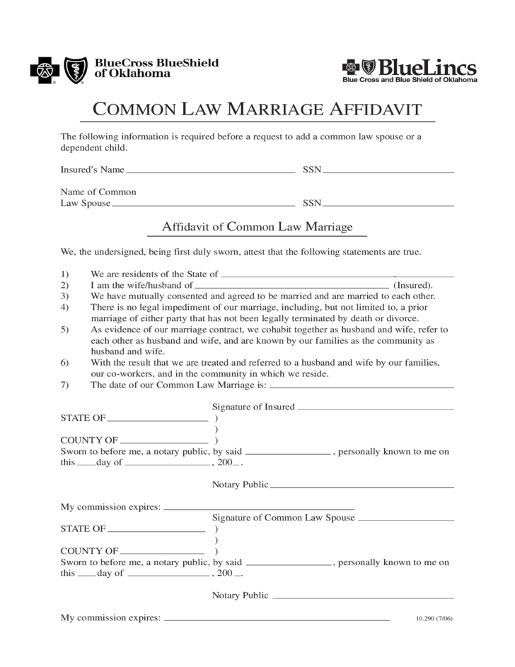 Common Law Marriage Affidavit Oklahoma Free Download Formsbirds SampleResume FreeAffidavit