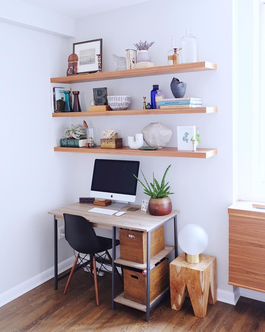 Small workspace  Desk in living room, Home office furniture, Home
