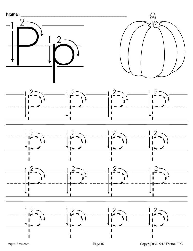 Printable Letter P Tracing Worksheet With Number And Arrow Guides Letter P Worksheets Alphabet Worksheets Preschool Letter Worksheets For Preschool