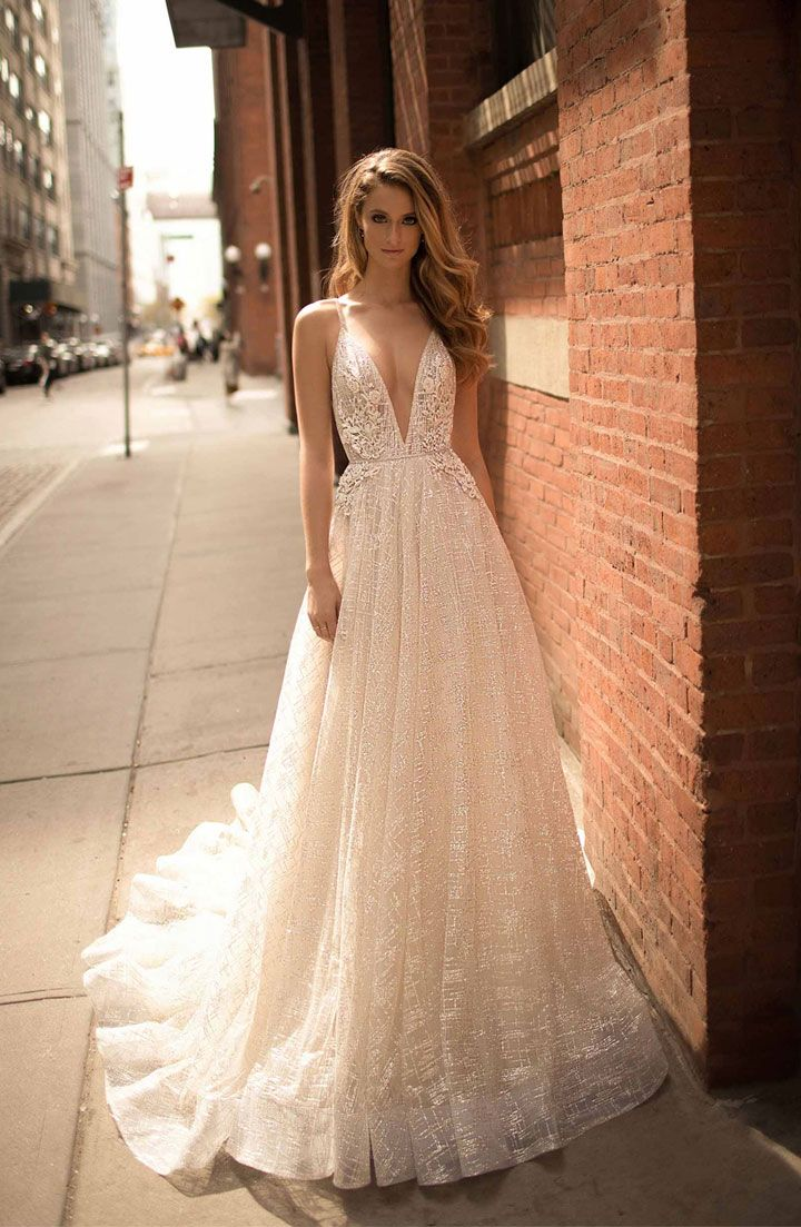 Berta wedding gown spaghetti straps with v neckline full embellishment + train sexy elegant wedding dress #weddingdress #weddinggown #weddingdresses ,wedding dresses ,wedding gowns