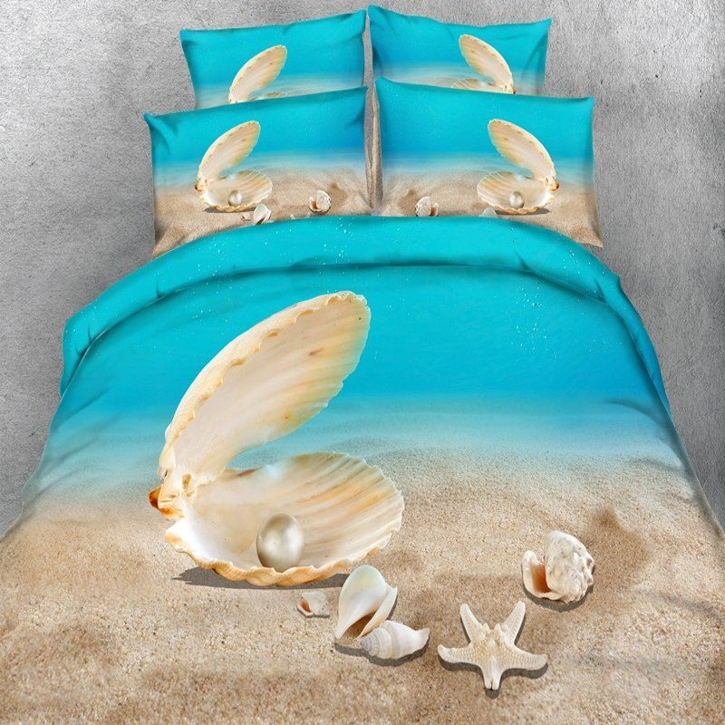 Tan Brown And Ocean Blue Starfish And Seashell Print Beach Themed