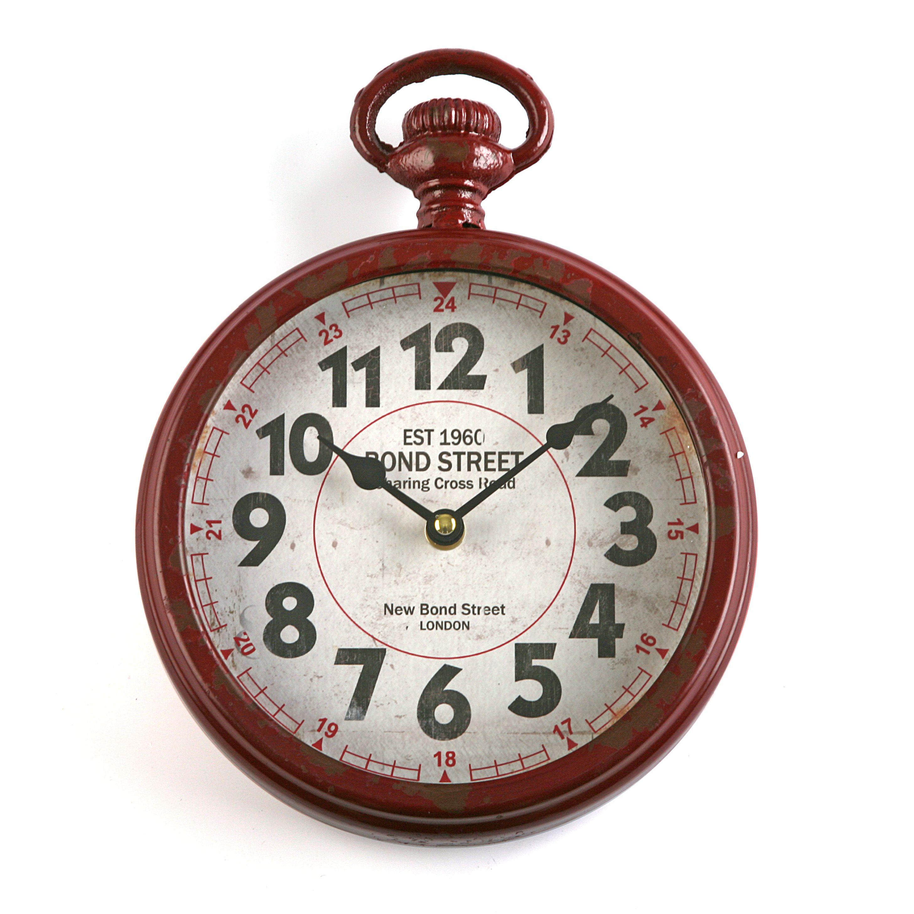 Reloj De Pared De Color Rojo Y Estilo Retro Reloj Retro Casa Versa Retro Style Red Clock Relojes De Pared Decoracion De Unas Relojes De Pared Originales