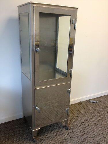 Antique Stainless Steel Medical Cabinet dental metal steel glass machine age | eBay