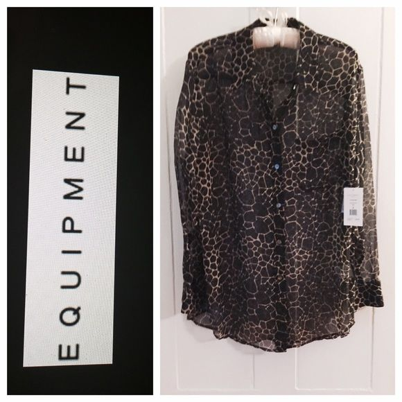 NWT! $228 EQUIPMENT Semi-Sheer Black/Tan Blouse NWT! $228 EQUIPMENT Semi-Sheer Black/Tan Print Blouse Sz M  Color: Black/Tan size: M New and never worn - retail tag attached - retail price: $228 Sheer printed blouse by Equipment Femme Spread collar; button front Long sleeves with button cuffs Loose fit Shirttail hem Silk Approximate measurements are: 21 inches underarm to underarm, 20 inches at the waist, and 29 inches in length Equipment Tops Blouses
