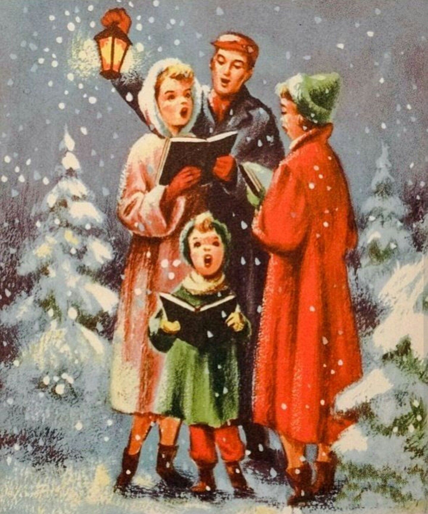 Christmas card beautiful world pinterest vintage christmas family sings carols by lamplight lantern vtg greeting card christmas unused snow kristyandbryce Image collections
