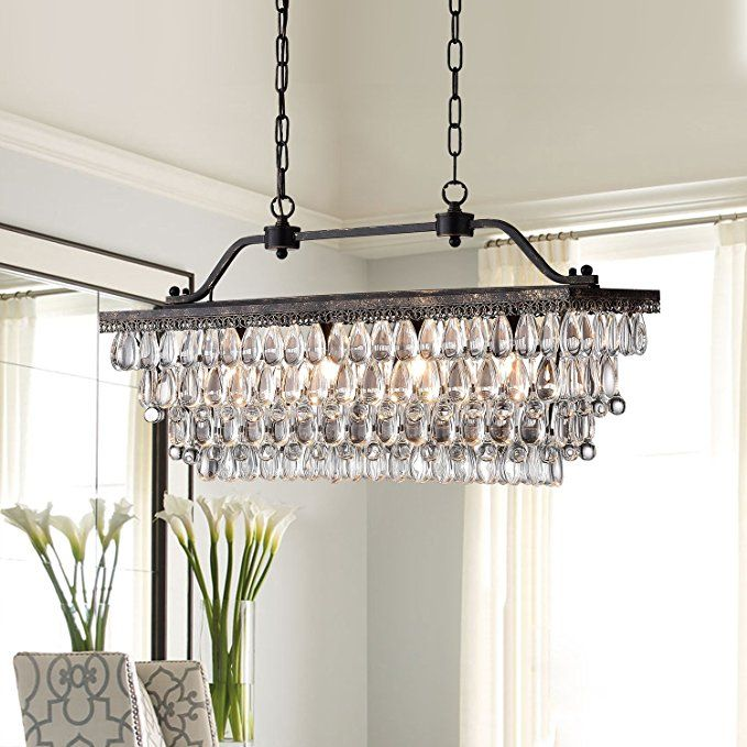 Antique Bronze Rectangular Crystal Chandelier Dining Room Ceiling Fixture Light