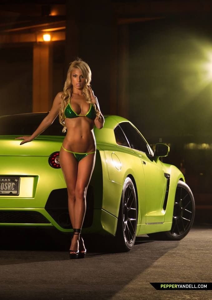 sports car Bikini girl in