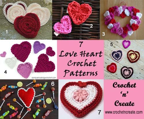Seven Love Heart Free Crochet Patterns