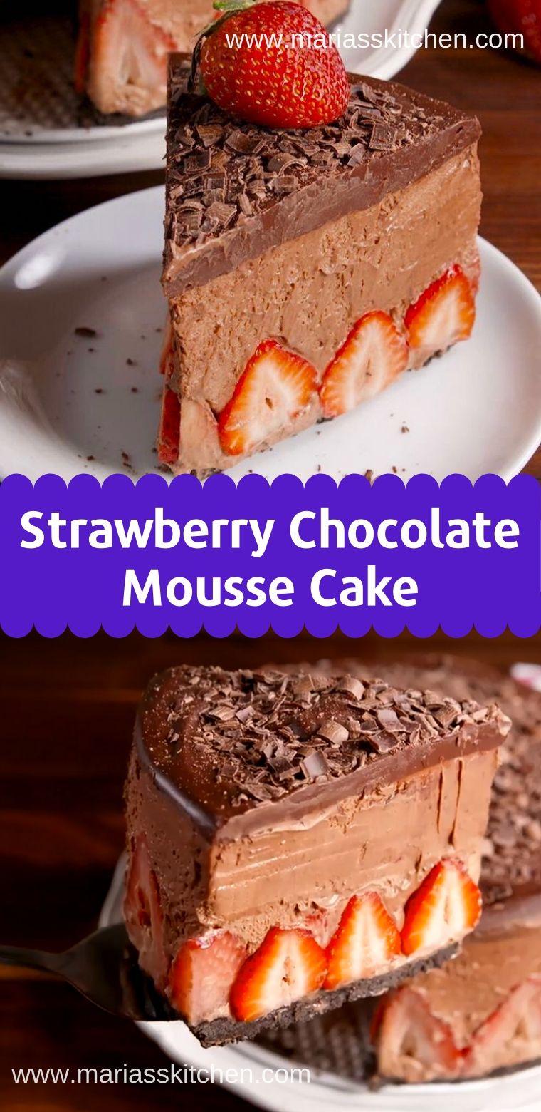Easy strawberry chocolate mousse cake recipe mousse cake