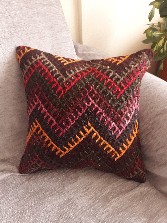 Anatolian Kilim Pillow Turkish Pillow Decorative Pillow Bohemian Pillow Home Decor Pillow 16x16 inches Vintage Handmade Kilim Pillow