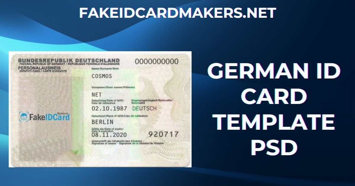 German Id Card Template Psd Id Card Template Card Template Templates
