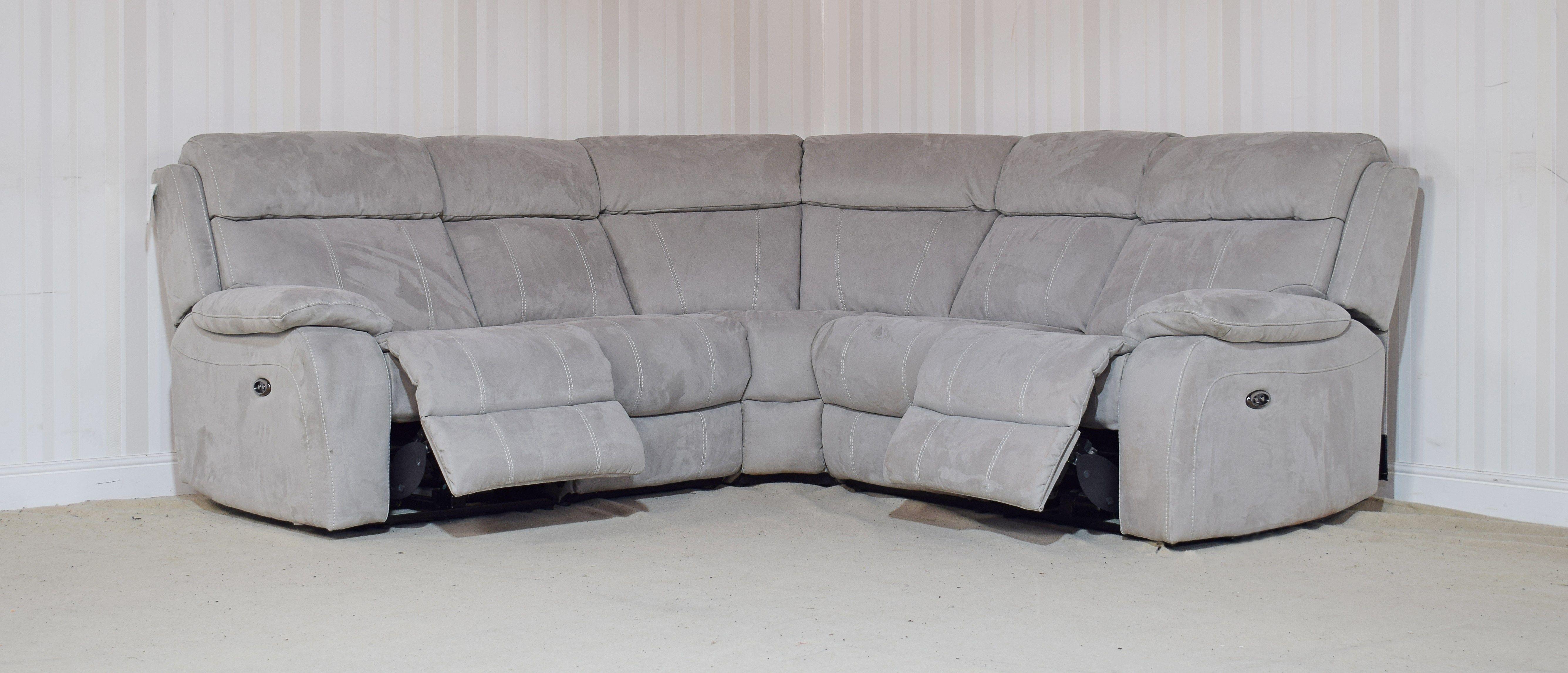 Moreno Fabric Grey Power Recliner 4 Piece Corner Sofa 9 Grey 3 Seater Sofa Corner Sofa Sofa