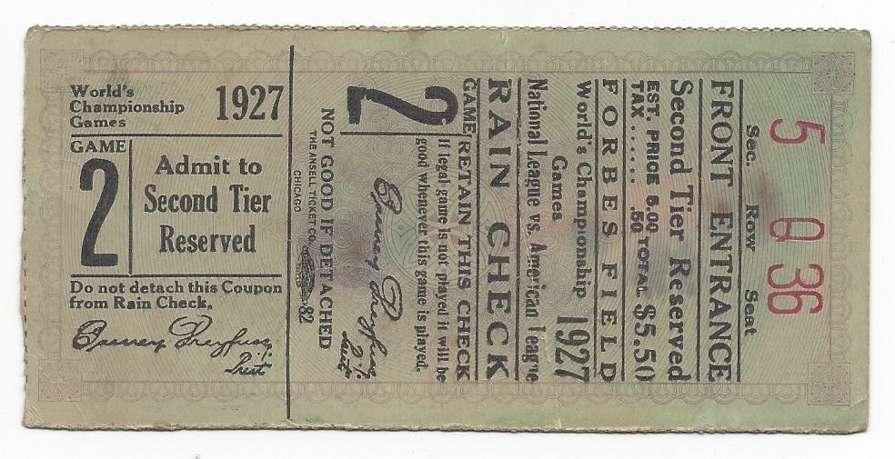 1927 world series baseball ticket pittsburgh pirates new