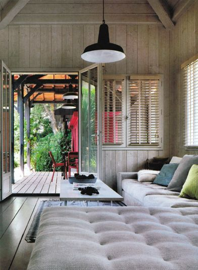 Living Room with a Factory Light from Marie Claire Maison Magazine May 2012