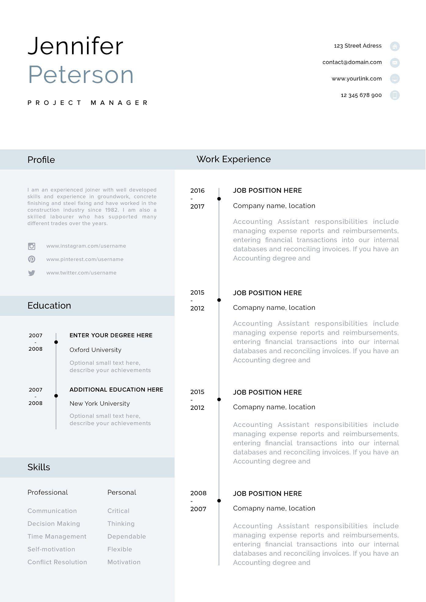 Resume Template, CV + Cover Letter Modern resume