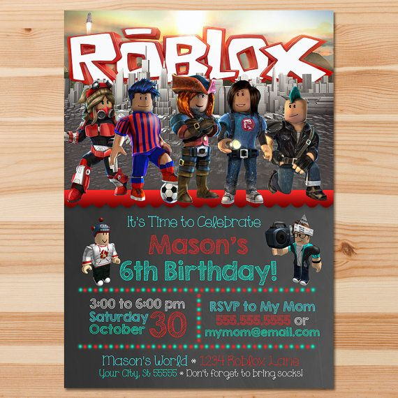 Printable Personalized Roblox Invitation Red And Teal This Adorable Is The Perfect Way To Invite Guests Your Little Ones