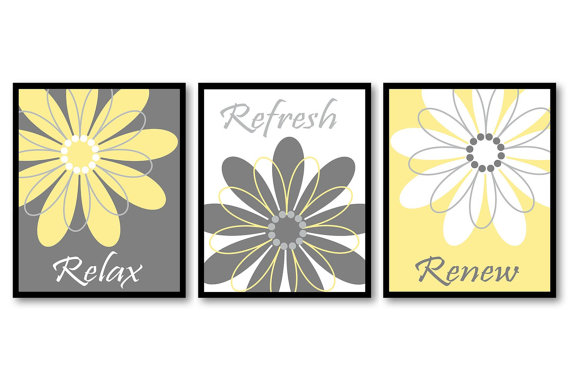 Bathroom Wall Art Yellow Grey Gray White Daisy Flower Print Set Of 3