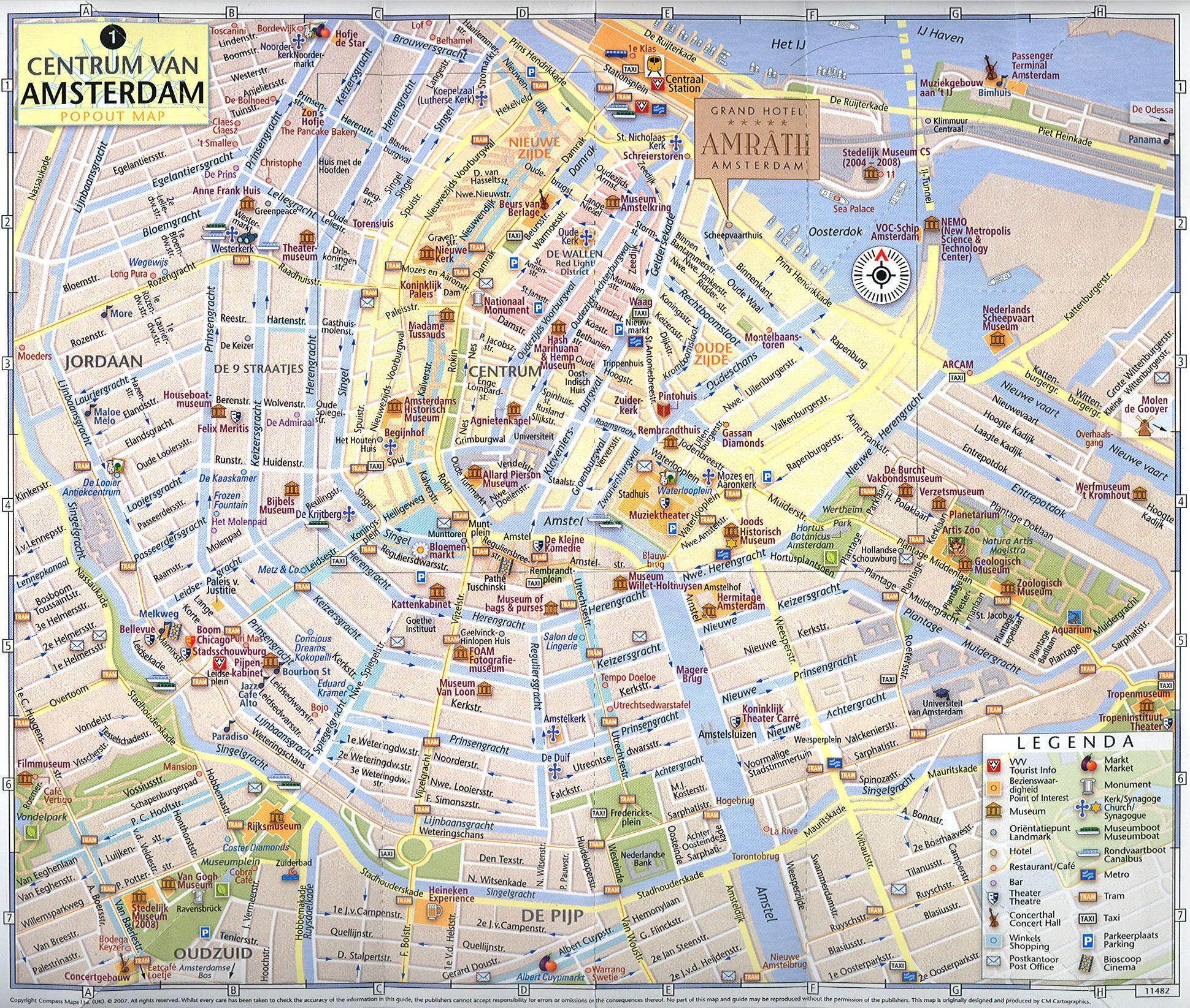 Tourist map of Amsterdam city Amsterdam roads map Maps of public
