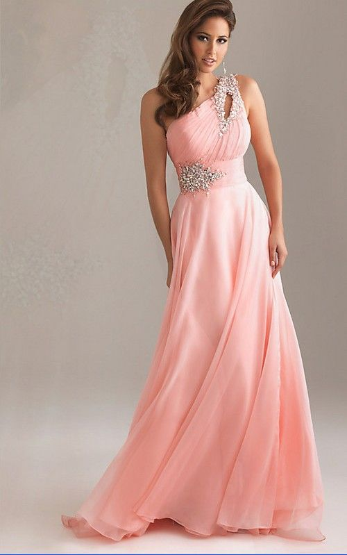 97c880646564 One-Shoulder light pink chiffon gown with crystal bead work at waist and on  shoulder