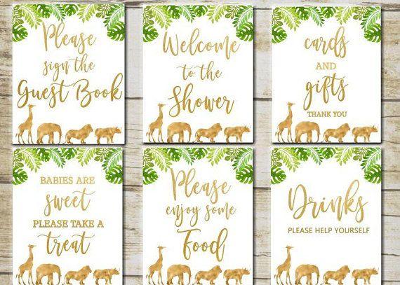 01cb89babeeac Gold Safari Baby Shower Signs, 6 Printable table signs, Safari Baby ...