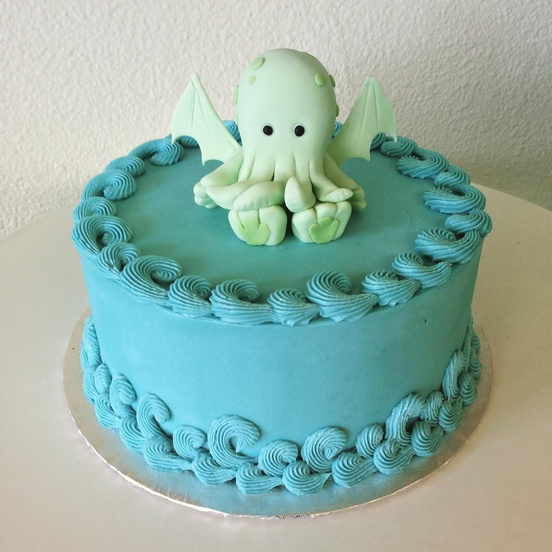 Cthulhu baby shower cake by Stuffed Cakes StuffedCakescom Custom