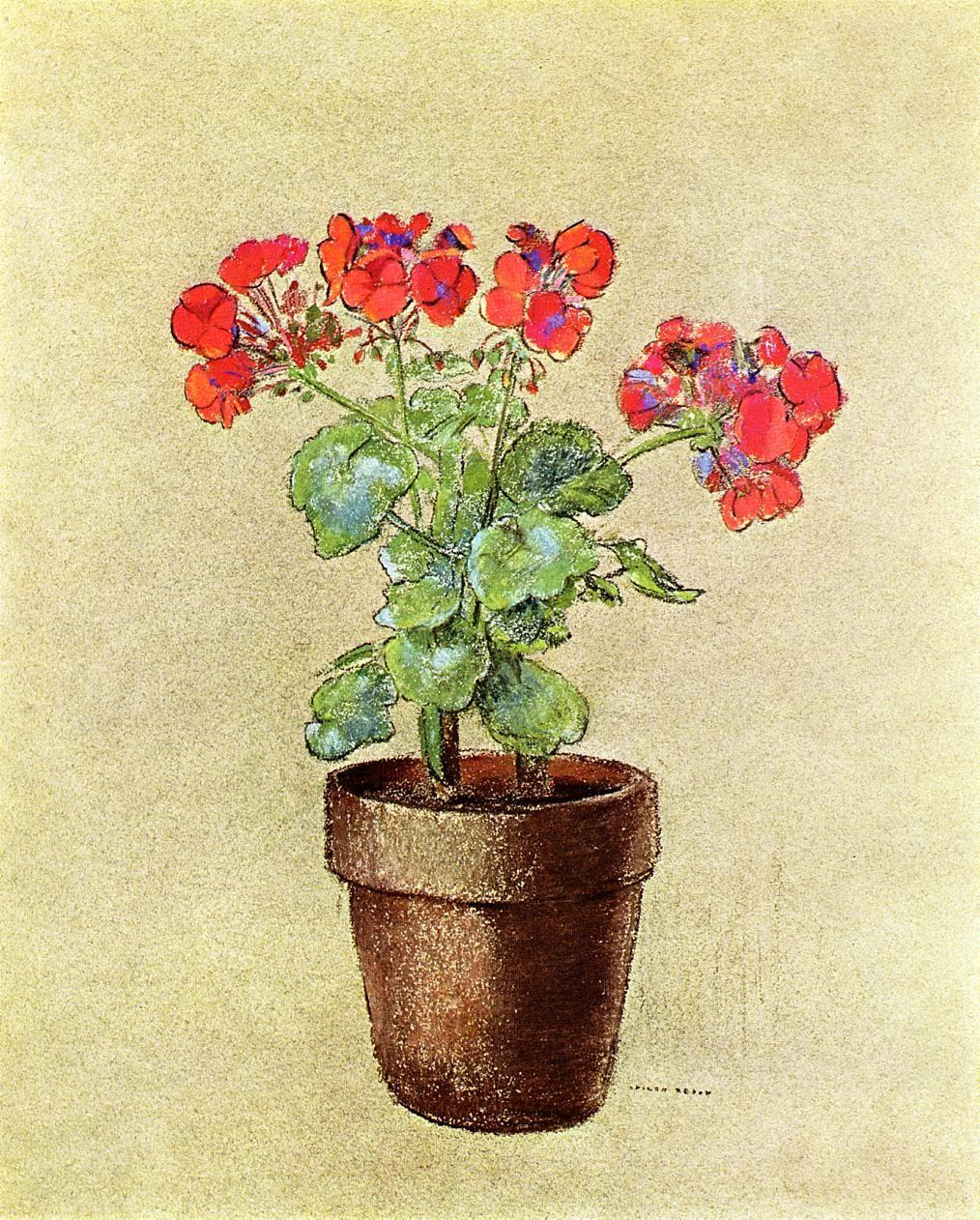 """ Geraniums via Odilon Redon Size: 49.53x40.64 cm Medium: pastel on paper"""