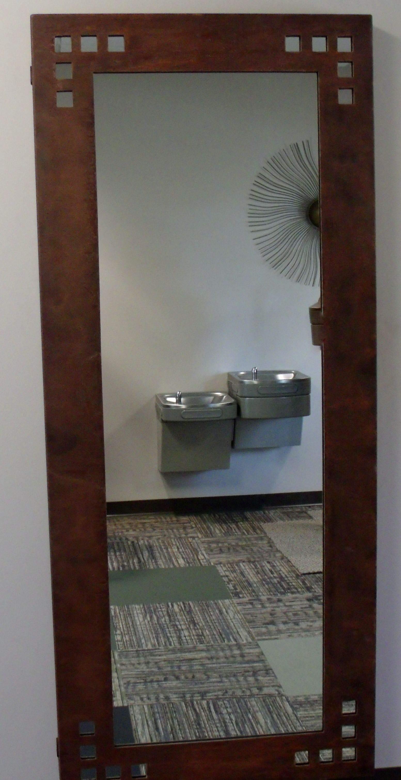 Mirror can be done in any size, left to rust naturally or can be powder coated any color.