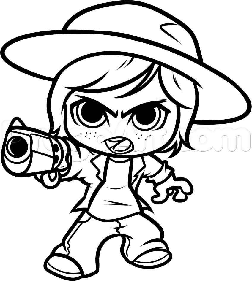 chibi carl chibi carl from the walking dead step by