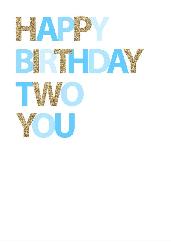 Happy Birthday Two You  Blue by inspirationholly on Etsy