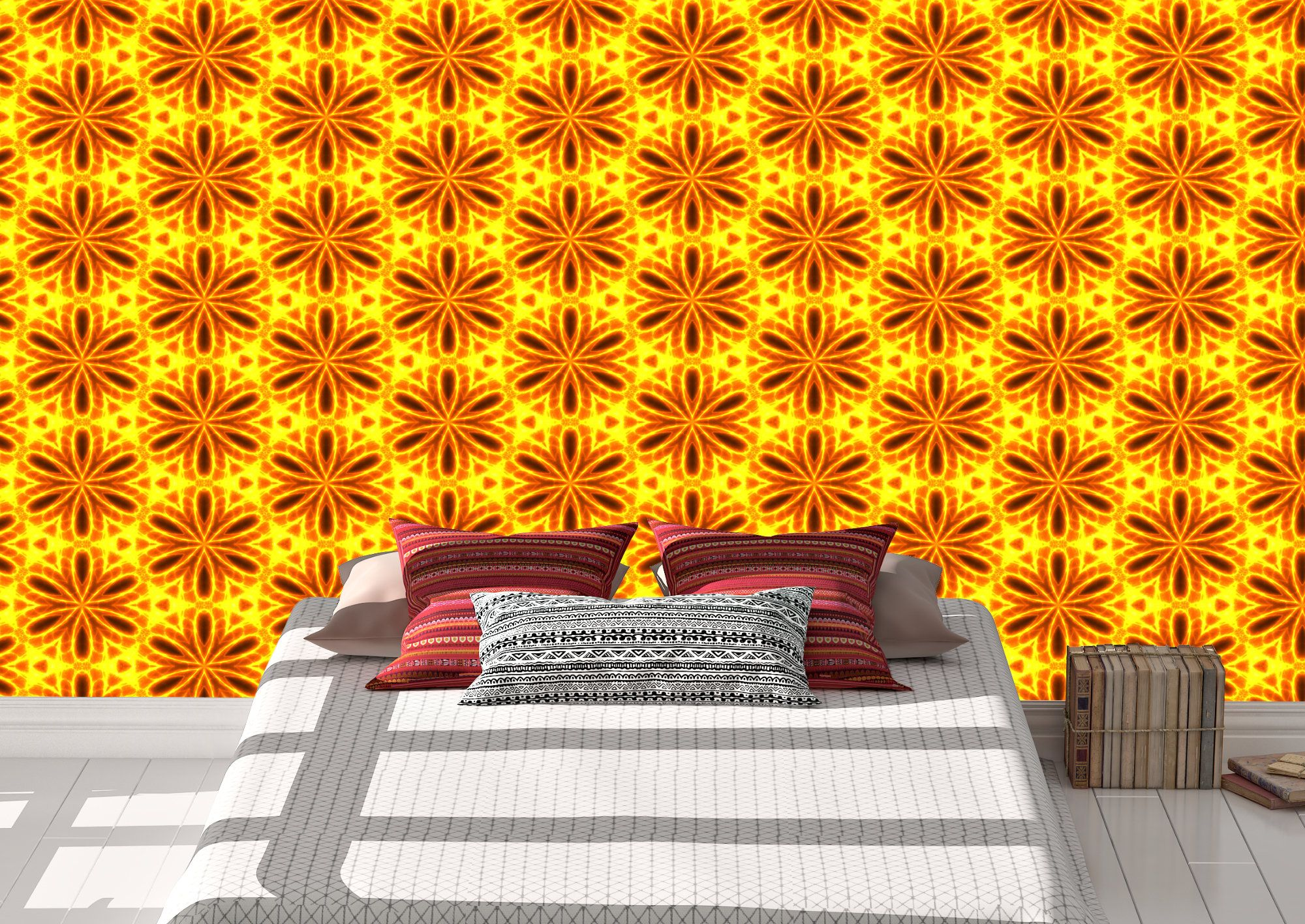 Burnt Orange Flowers Wallpaper Peel and Stick Removeable