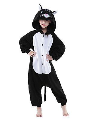 Kigurumi+Pyjama++nieuwe+Cosplay®+/+Kat+Gympak/Onesie+Festival/Feestdagen+Animal+Nachtkleding+Halloween+Zwart/Wit+Effen+Fleece+Kigurumi+–+EUR+€+40.17