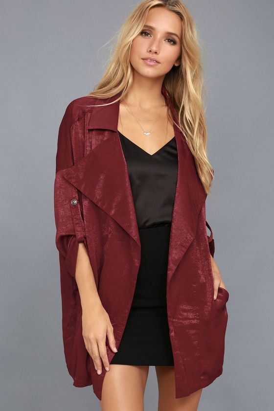 149ee616f09b9e High-Spirited Burgundy Satin Jacket
