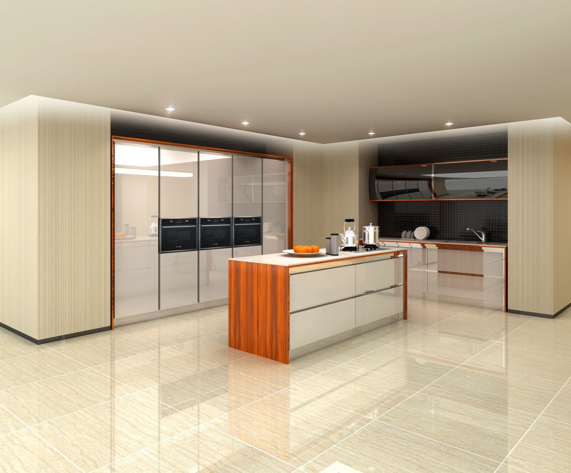 Kitchen cabinet with wood veneer finish oppein sydney for Veneer for kitchen cabinets