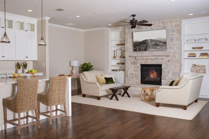 Warm White Kitchen and Living Area — Elizabeth Ryan Interiors
