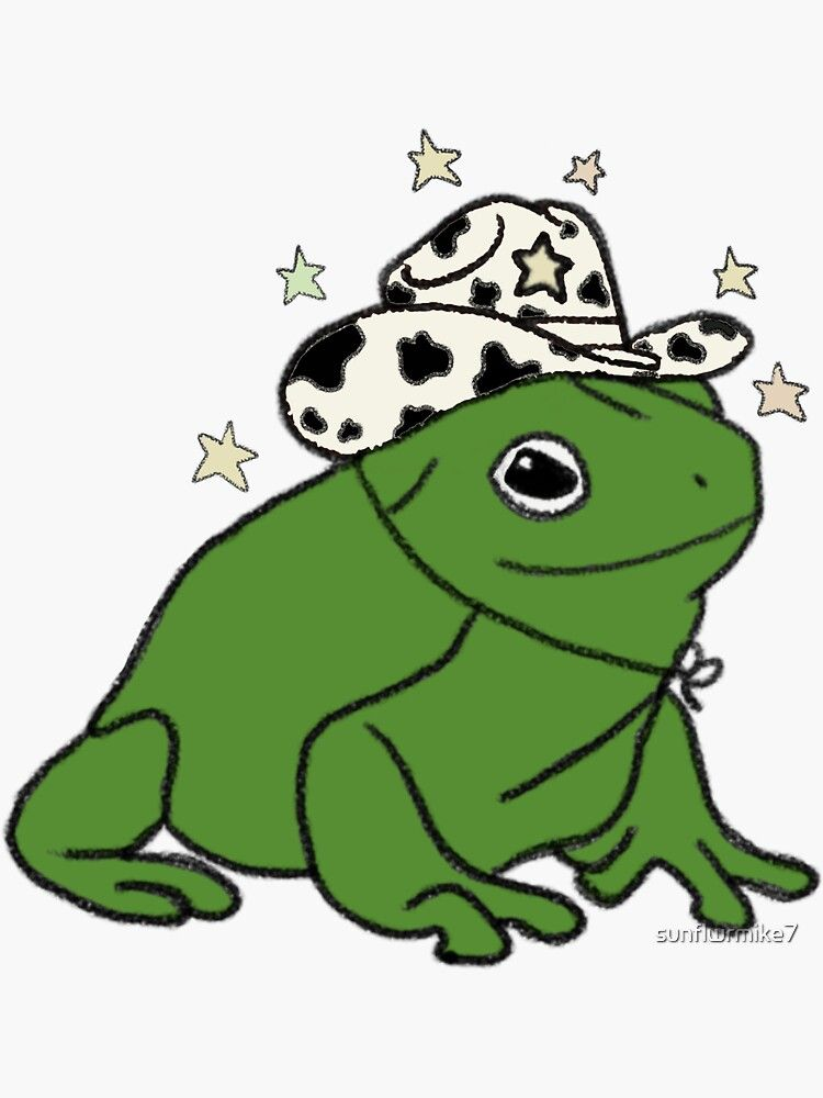 Frog with a cowboy hat ★ Sticker