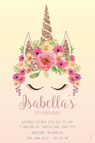 Unicorn Birthday Invitations, Girls Birthday Invitation