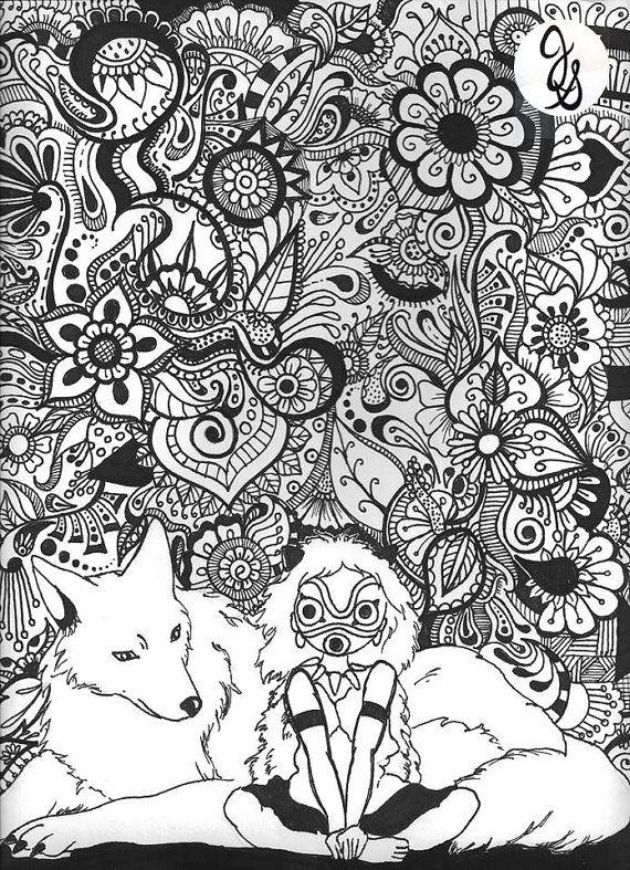 Coloriage Princesse Mononoke.Princesse Mononoke Dessin Floral Par Byjamierose Sur Etsy