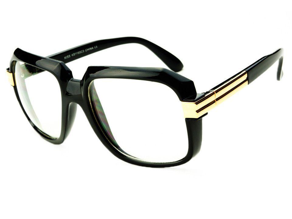 5808c1553ee Retro Vintage Clear Lens Gazelle Retro Glasses Black Gold A265 ...