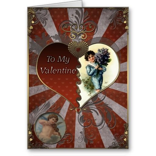 Valentines Day - Boy with a bouquet of lilacs. Card Valentines Day - Greeting Cards in Vintage Style  #valentinesdaygifts #greetingcards #vintage