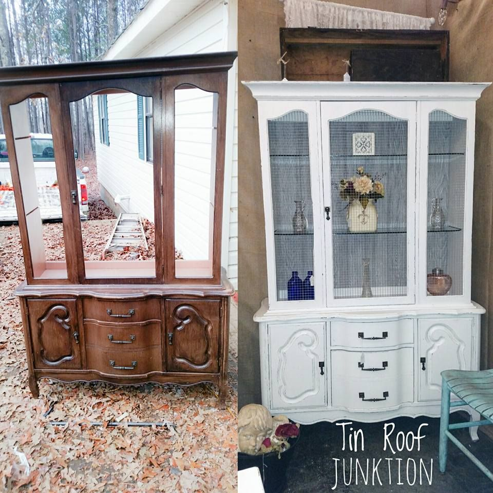 china cabinet makeover with farmhouse paints, square wire mesh & a ...